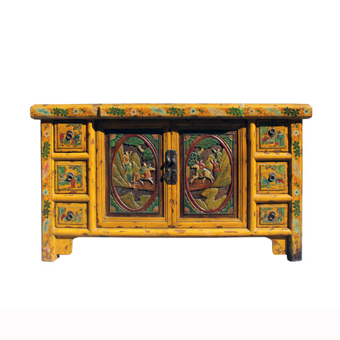 Chinese Distressed Yellow Carving Motif TV Console Table Cabinet cs5905S