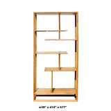 Light Natural Raw Wood Zen Minimalist Curio Display Cabinet Divider cs5909S