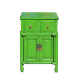 Distressed Oriental Bright Green Solid Wood End Table Nightstand cs5912S