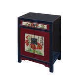 Black & Red Lacquer Oriental Flower End Table Nightstand cs5915S