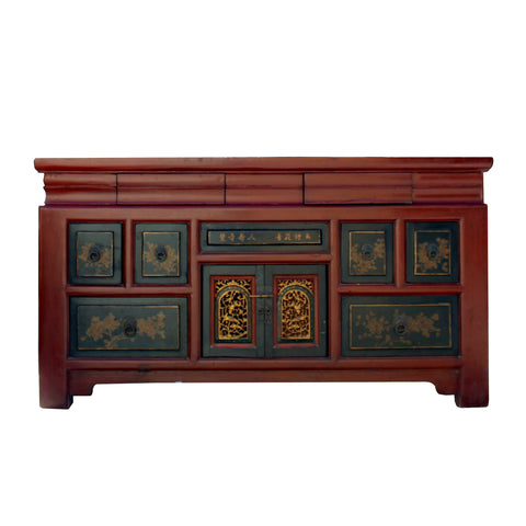 TV console - red lacquer - carving cabinet