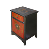 Chinese Black Red Golden Graphic End Table Nightstand cs5923S