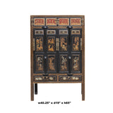 Chinese Black Golden Carving Wood Storage Wardrobe Hutch Cabinet cs5941S