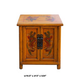 Oriental Distressed Orange Yellow Phoenix Flower End Table Nightstand cs5950S