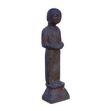 Chinese Oriental Gray Brown Stone Standing Zen Lohon Figure cs5972S