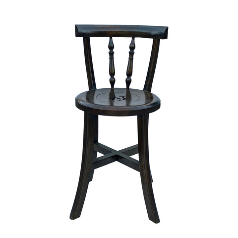 Chinese Handmade Round Brown Stain Fok Side Chair w Back cs5983