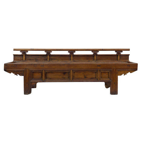 Oriental Zen Ming Style Rough Wood Double Seat Opera Bench cs5990S