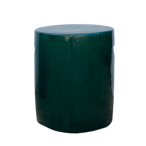 garden stool - clay - green blue stool