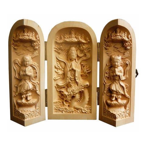 carved wood Kwan Yin with Kid statue