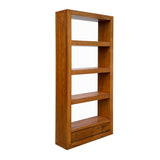 Elm Wood Brown 4 Shelves 2 Drawers Bookcase Display Cabinet cs6032S