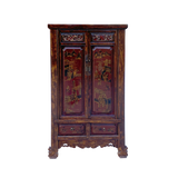 Chinese Vintage Brown Golden Scenery Armories  Storage Cabinet cs6059S