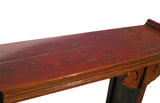 Chinese Vintage Red Brown Rustic Lacquer Altar Console Table cs619S