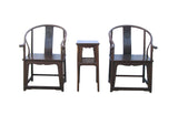 Chinese Huali Horsewshoes Armchair Table 3 Pieces Set cs635S