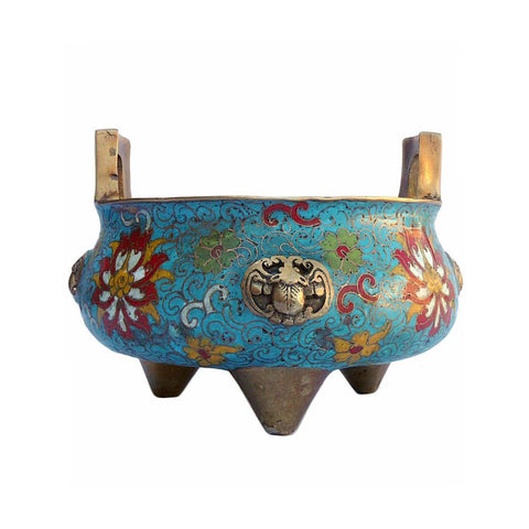Chinese Bronze Turquoise Cloisonne Incense Burner