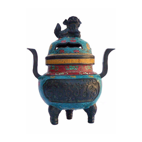 Turquoise Cloisonne Tri legs Ding Incense Burner With Foo Dog Cover