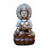 white jade stone  Kwan Yin - Bodhisattva -  goddess of mercy - goddess of compassion