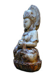 white jade stone Goddess of Mercy on Lotus