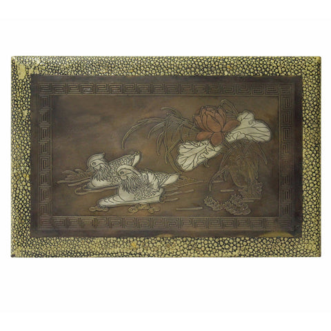 Yellow Box With Love Duck Play On Lotus Pond Metal Plate Inlay