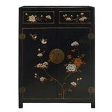 Chinese Black Color Flowers & Birds Veneer Leather Side Table Shoes Cabinet cs681S