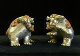 Chinese Silver Rose Color Couching Foo Dog Fengshui Figures cs690-15S