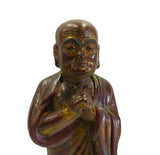 Chinese Wood Brown Golden Monk statue