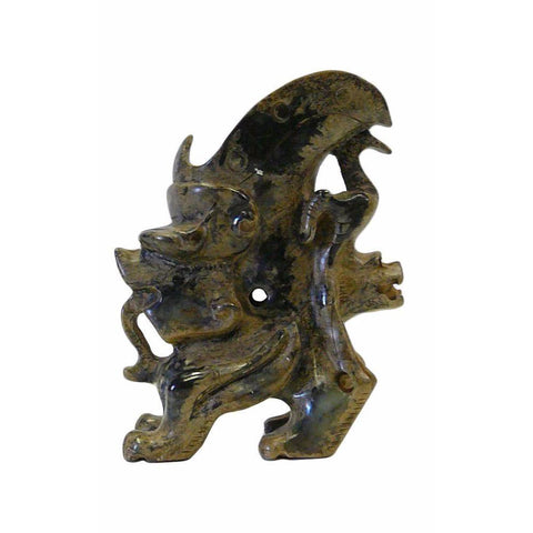 Oriental Stone Carved Dragon Cup Shape Figure