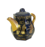 Chinese Zisha Clay Black Golden Scenery Teapot Display cs695-10S
