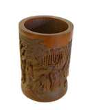 Chinese Bamboo Scenery Carved Brush Pot Holder Display cs695-16S