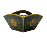 Traditional Chinese Black Flowers Wood Square Handle Rice Measure Bucket cs698-10S