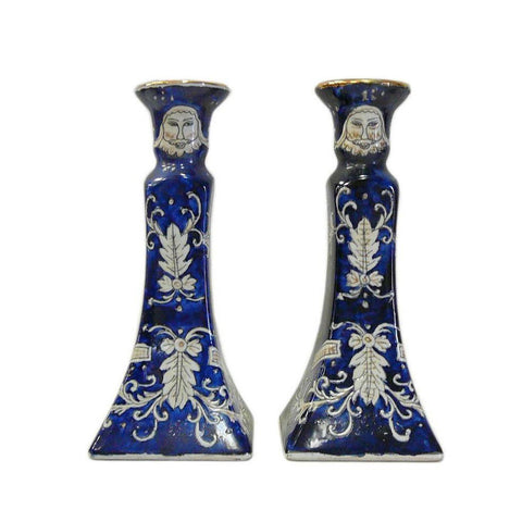 Pair Chinese Porcelain Blue White Graphic Candle Holders cs712-8S