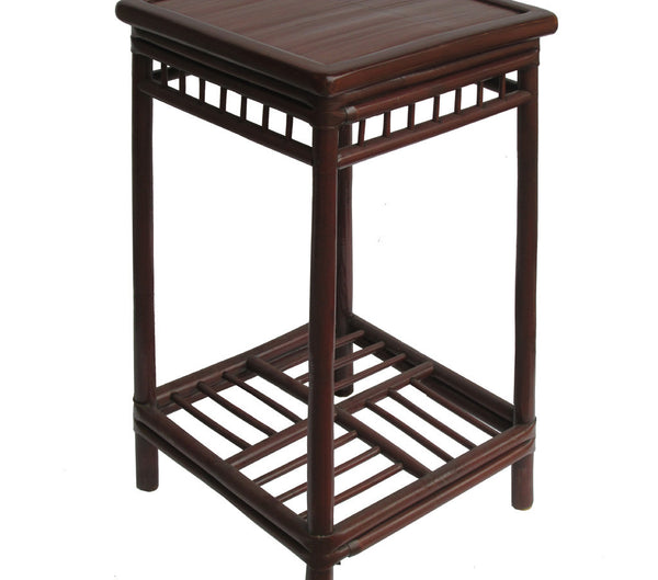 Chinese Handmade Vintage Bamboo Square Side Table Plant