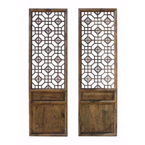 Antique Pair Chinese Wood Geometric Wall Panel Headboard Accent cs734S