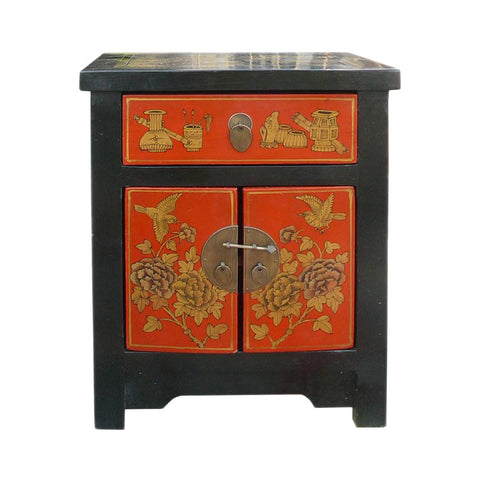 Asian solid wood end table