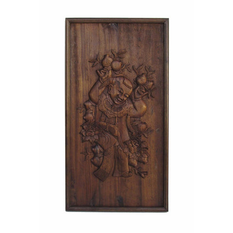 antique carved panel - kid holding longevity peach