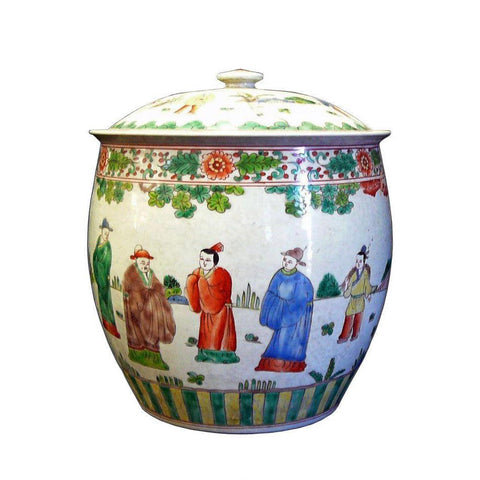 Chinese Porcelain Color People Gathering Scenery Pot