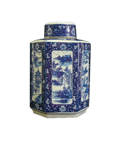 Chinese Blue & White Porcelain Oriental Scenery Hexagaon Jar Container cs806S