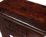 Chinese Rustic Distressed Red Brown Side Table Cabinet cs864S