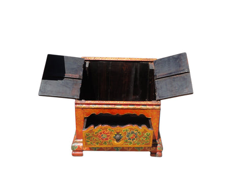 ... Chinese Tibetan Orange Blue Jewel Prayer Table Chest Cs892S ...