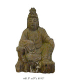 Chinese Rustic Distressed Finish Wood Kwan Yin Bodhisattva statue cs909S