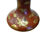 Pair Chinese Brown Golden Lacquer Scenery Vases cs925S