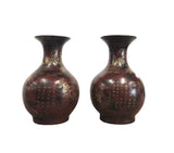 Chinese Pair Brown Golden Scenery Decorative Vases cs936S