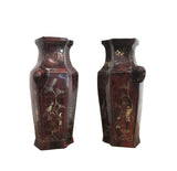 Chinese Pair Brown Lacquer Golden Scenery Vases cs937S