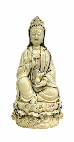 Chinese Off White Porcelain Meditate Kwan Yin Statue On Lotus Base Holding Holy Vase cs948-6S