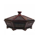 Chinese Rosewood Octagon Immortal Theme Accent Box
