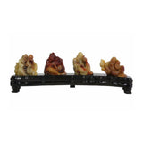 Chinese ShouShan Stone Four Old Men Display Figure