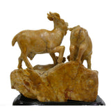 Chinese Oriental ShouShan Stone 3 Rams Sanyang Kaitai Theme Display Figure cs950-1S