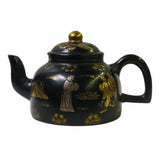 Chinese teapot - black color with gold painter