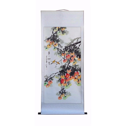 red flower scroll painting
