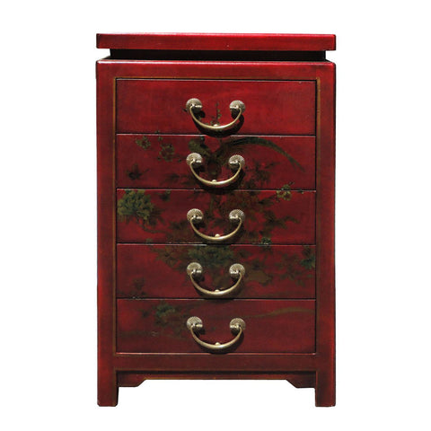 red leather file cabinet