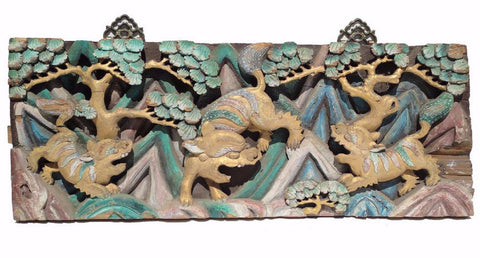 Chinese Vintage Handmade Relief Carving 3 Foo Dogs Motif Decorative Panel f340S